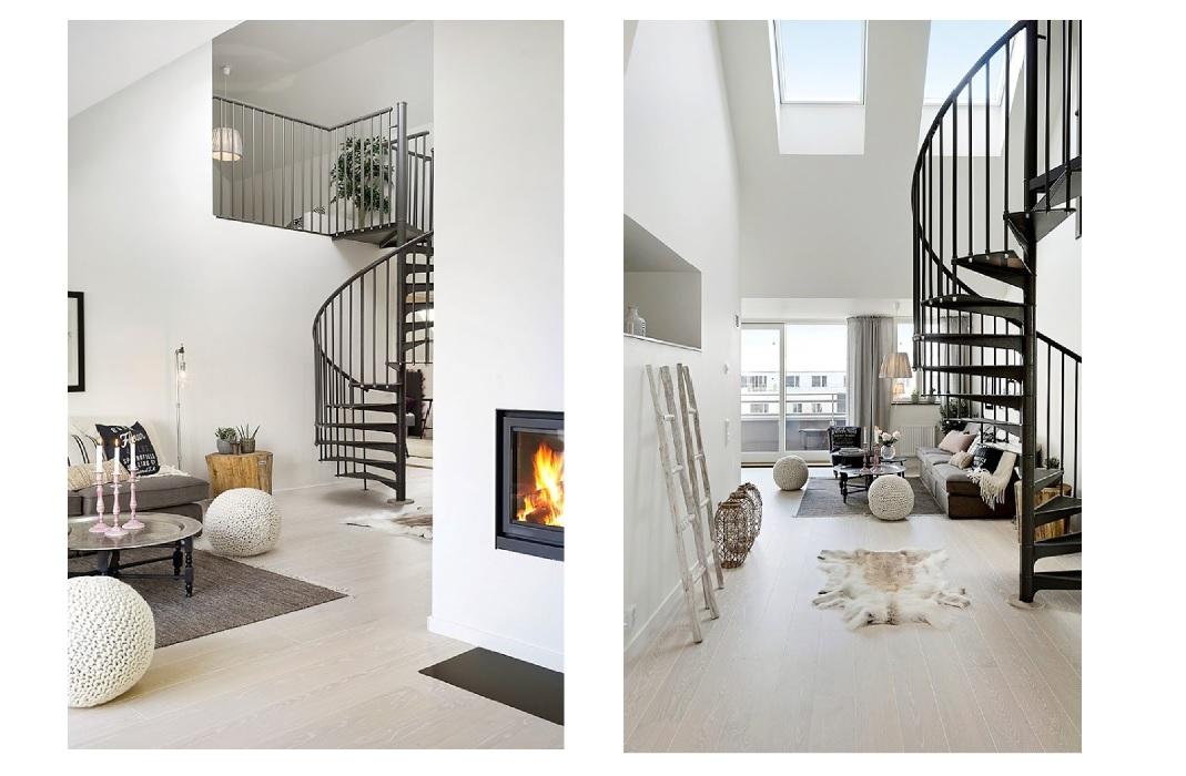 Las escaleras de caracol conquistan las decoraciones nórdicas ...